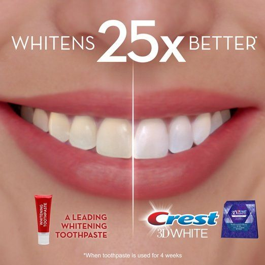 Crest 3D White whitestrips whitens 25 times better than a leading whitening toothpaste